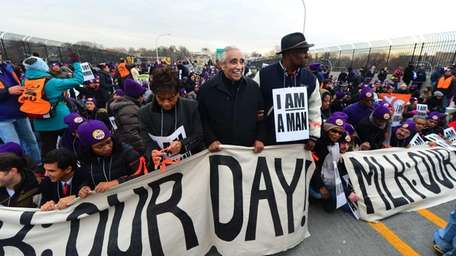 Rep. Charles Rangel joined elected leaders and hundreds