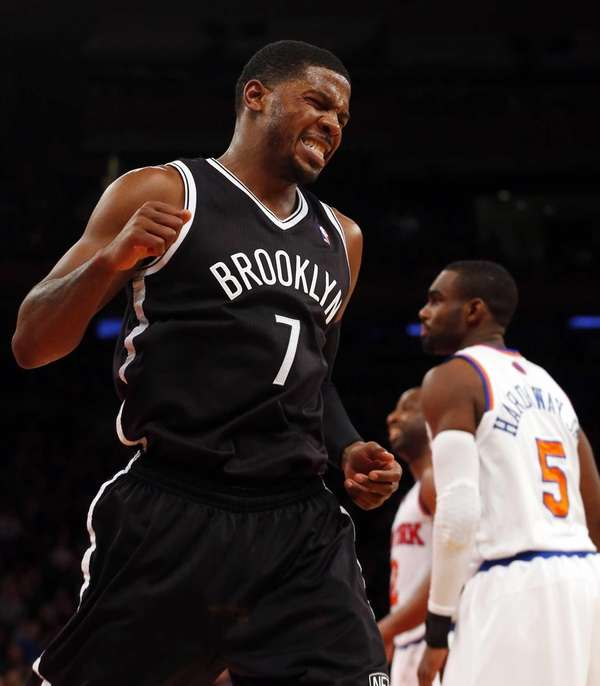 Joe Johnson reacts after a play against the