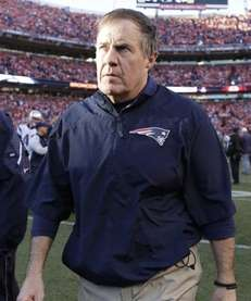 New England Patriots head coach Bill Belichick leaves