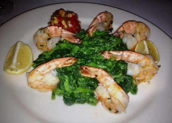 Grilled shrimp with broccoli rabe and pico de
