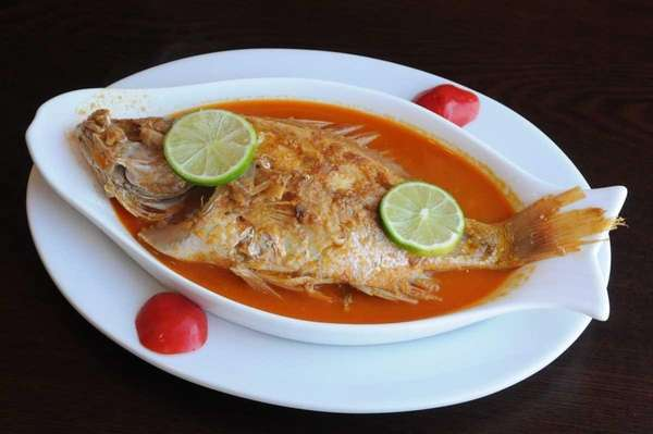 Baked red snapper was on the menu at