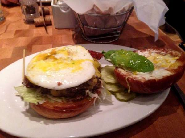 The breakfast burger at Zinburger Wine & Burger