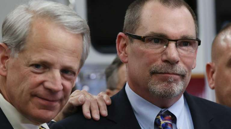 Rep. Steve Israel, left, stands with Bobby Fitzsimons,