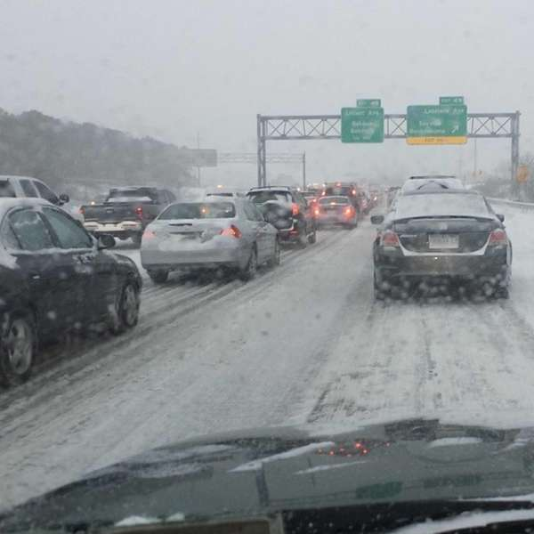 Westbound Sunrise is crawling #LIsnow