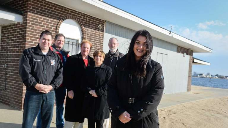 Michelle Ryan, right, and members of a residents'