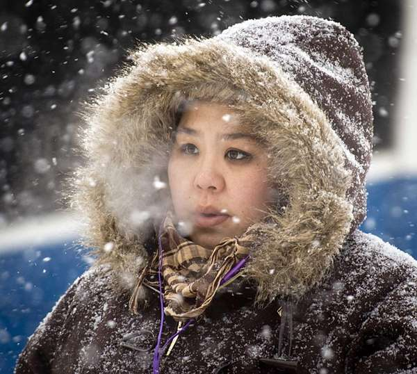 Valley Stream resident Suni Kim endures the frigid