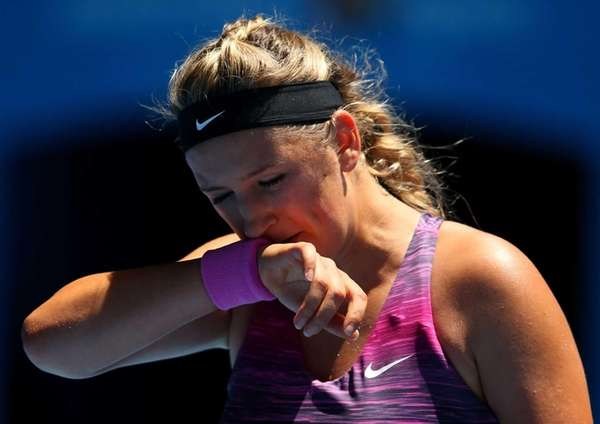 Victoria Azarenka of Belarus reacts to a point