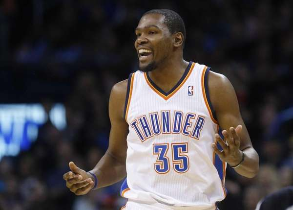 Oklahoma City Thunder forward Kevin Durant smiles after
