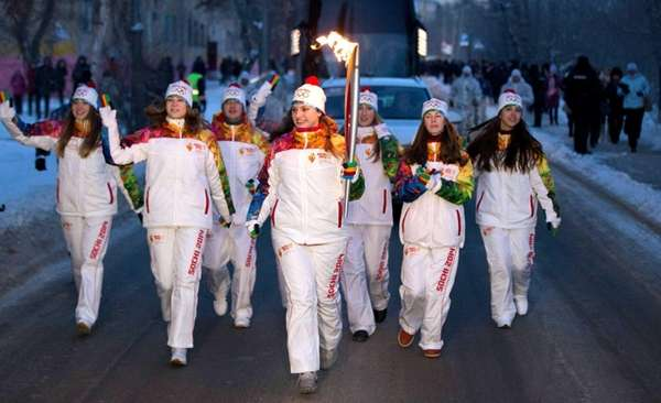 A torchbearer participating in the Sochi 2014 Winter