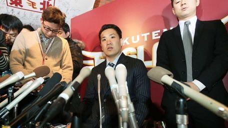Pitcher Masahiro Tanaka of the Rakuten Eagles speaks