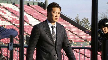 Japanese pitcher Masahiro Tanaka arrives at Miyagi Baseball
