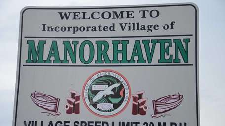 Manorhaven welcome sign. (April 16, 2013)