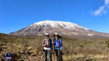 Saba Ali and Sumaiyah Ahmed climbing Mount Kilimanjaro.