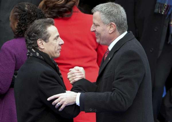 Bill de Blasio, with Gov. Andrew M. Cuomo,