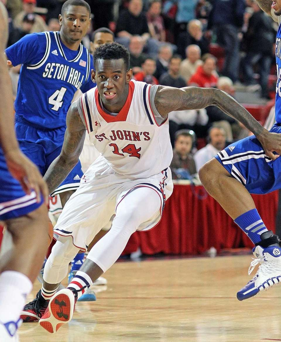 St. John's JaKarr Sampson takes off toward the
