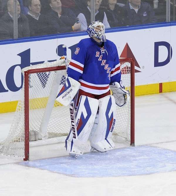 Rangers goalie Henrik Lundqvist stands in goal after