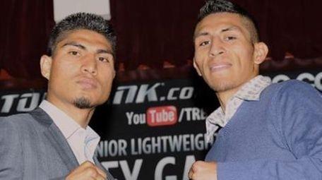 Mikey Garcia and Juan Carlos Burgos pose during