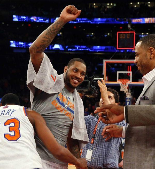 Carmelo Anthony of the Knicks celebrates after a