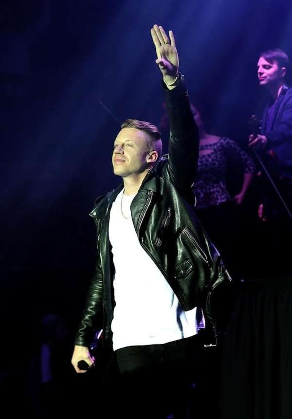 Musician Macklemore performs during a concert presented by