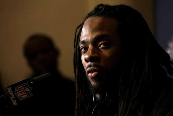 Seattle Seahawks cornerback Richard Sherman speaks during a