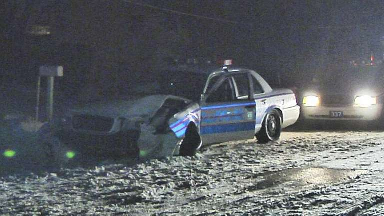 A Suffolk County police officer suffered minor injuries