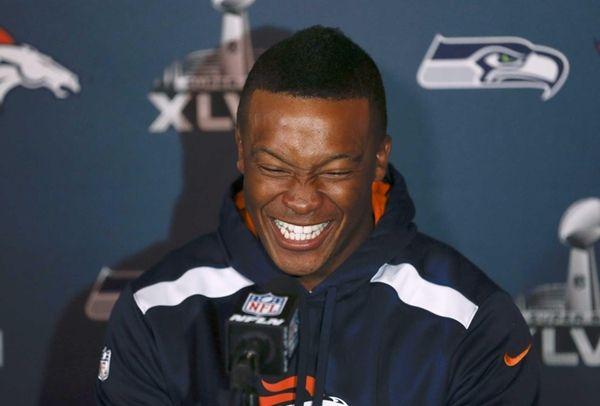 Demaryius Thomas of the Denver Broncos speaks to