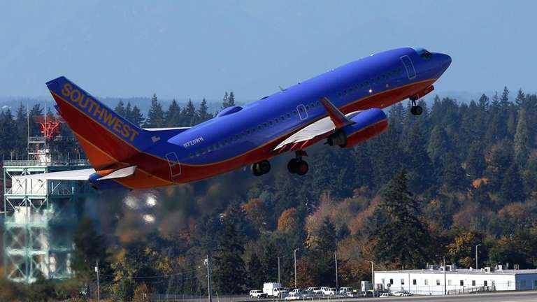 A Southwest Airlines plane takes off from Seattle-Tacoma