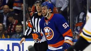 Frans Nielsen of the Islanders celebrates his first