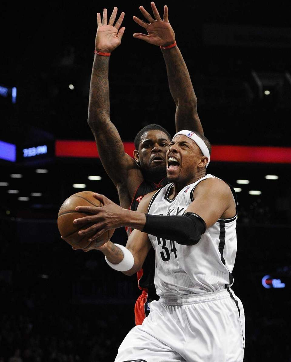 Brooklyn Nets forward Paul Pierce shoots a layup