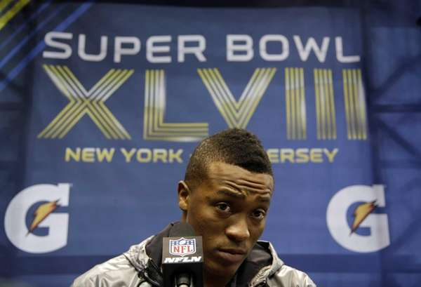 Denver Broncos' Demaryius Thomas answers a question during