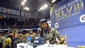 Seattle Seahawks cornerback Richard Sherman speaks to the