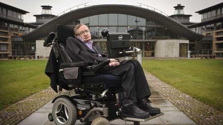 Stephen Hawking outside DAMTP, Department of Applied Mathematics