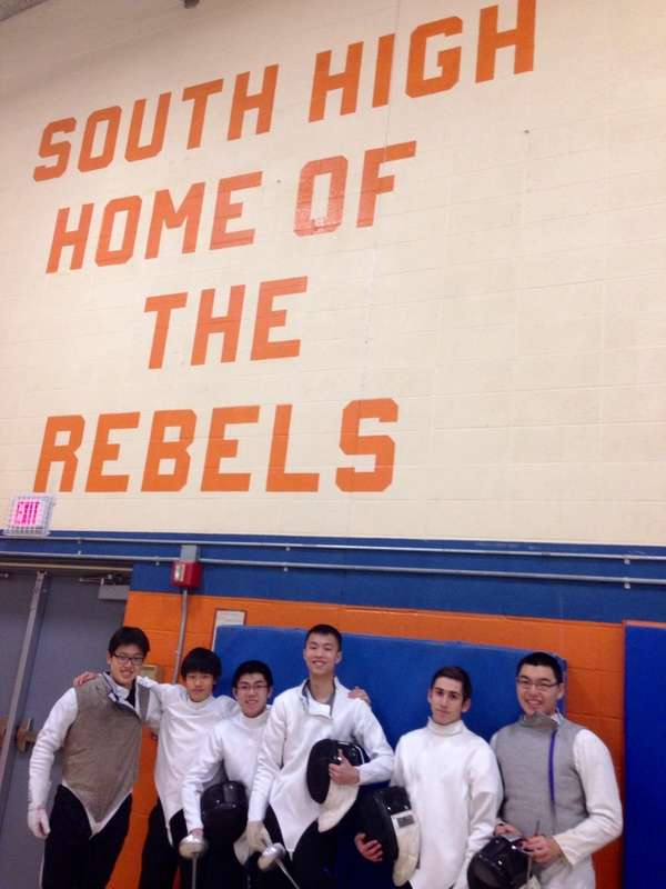 Great Neck South fencers pose for a picture.