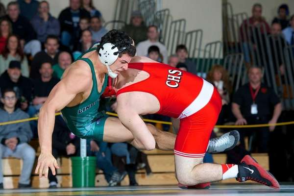 Connetquot's John Barrias wrestles against Lindenhurst's James Napoleon