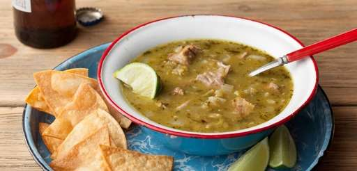 Green chili, made with pork shoulder, tomatillos and