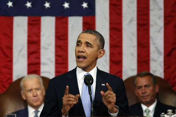 U.S. President Barack Obama delivers the State of
