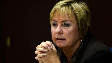 Town of Hempstead Supervisor Kate Murray talks to