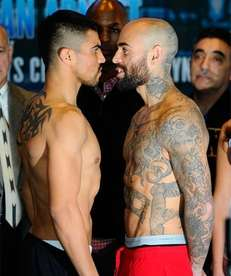 Victor Ortiz (L) and Luis Collazo at a