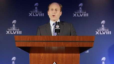 Jeff Miller, with the NFL, speaks during a