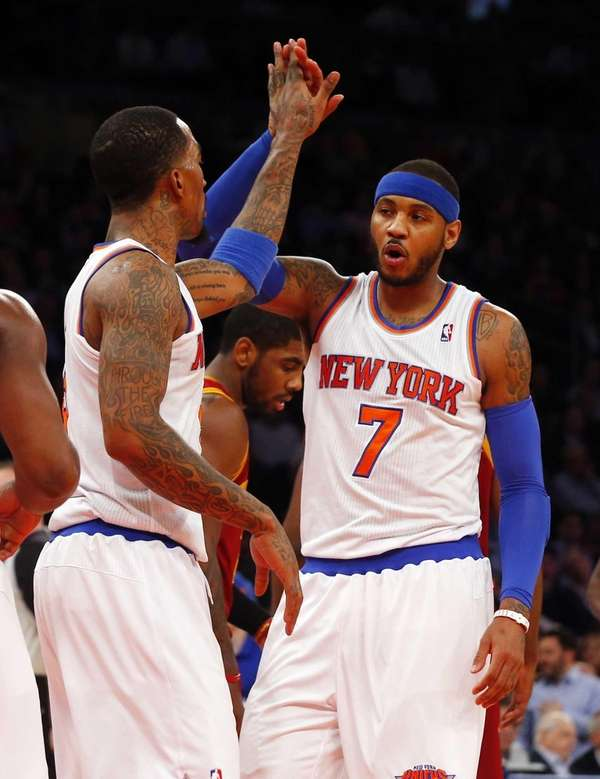 Carmelo Anthony #7 and J.R. Smith #8 celebrate
