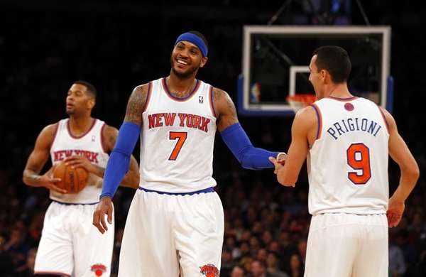 Carmelo Anthony and Pablo Prigioni of the Knicks