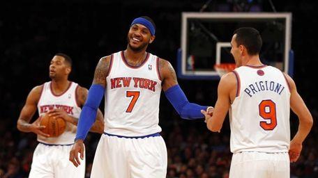 Carmelo Anthony and Pablo Prigioni of the Knicks