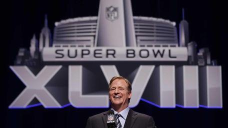 NFL commissioner Roger Goodell laughs as he speaks