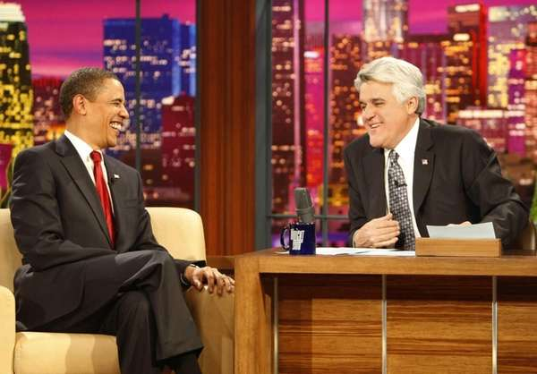 "President Barack Obama, left, appears on ""The Tonight"