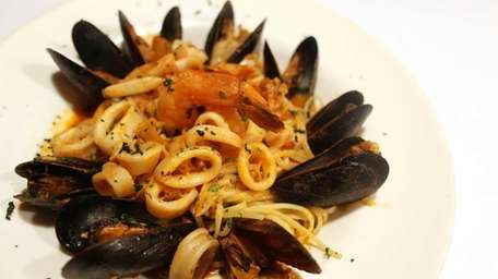Spaghetti with seafood is served at Groppelo's restaurant