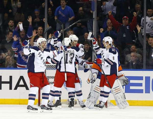 Brian Boyle of the Rangers celebrates his first