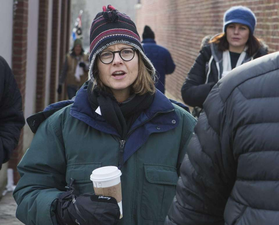 Jodie Foster arrives on the film set in