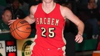 Sachem East's Katie Doherty brings the ball up