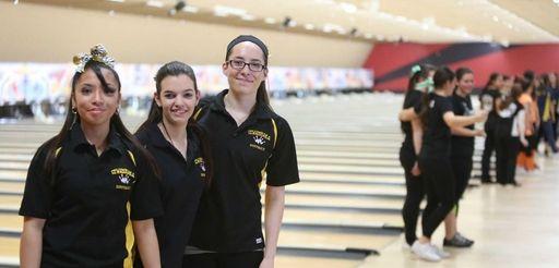 From left, Sewanhaka seniors Daniele Roca, Kristina Genova,