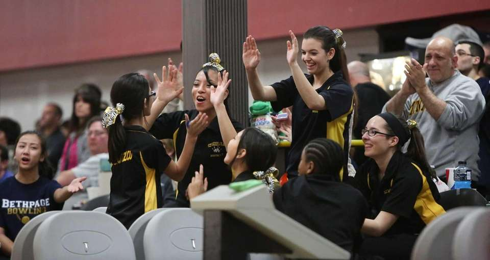 Sewanhaka celebrates during the Nassau County High School